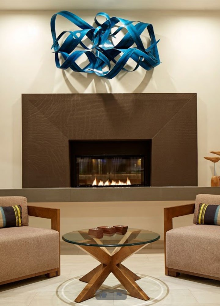 Homewood Suites lobby fireplace